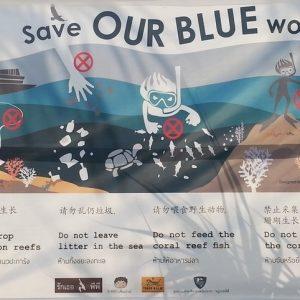 Phi Phi Island snorkeling advice  – Maya Bay Marine life protection signage