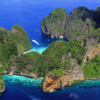 Phi Phi islands snorkeling  – drone image