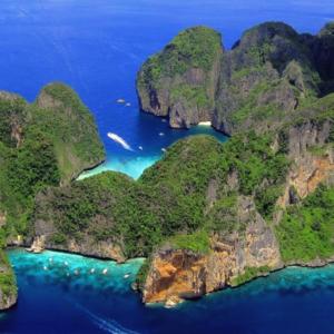 Phi Phi islands snorkeling  – drone image