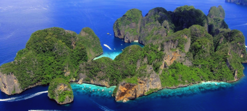 Phi Phi islands snorkeling - drone image